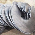 вырезанные заготовки для производства винтовых свай, толщина 6мм
