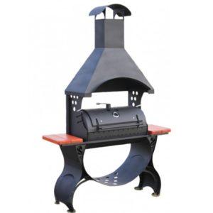 дизайнерский мангал барбекю для дачи с крышей и дымоходом