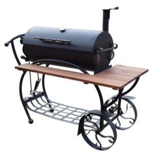 красивый барбекю с цилиндрической жаровней