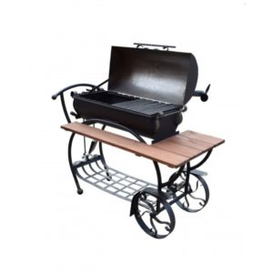 кованый дизайнерский барбекю комплекс на колёсах с деревянным столиком