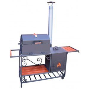 недорогой барбекю комплекс с печью для казана и дымовой трубой
