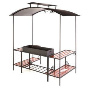 мангал с крышей и боковыми столиками