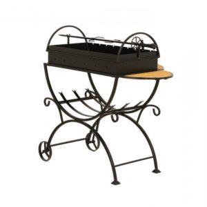 разборный мангал на колёсах со столиками и вертелом