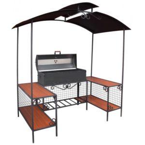 мангал с крышкой для барбекю, решётками гриль, зоной для готовки под стальной крышей
