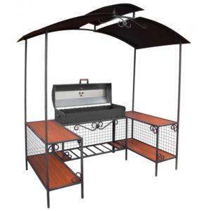 мангал с крышкой барбекю, металлической крышей и зоной для готовки