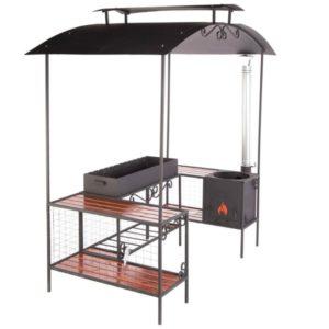 мангал с крышей, боковыми столиками и печью под казан