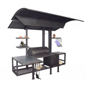 универсальная жаровня с крышей, столики, полки и печка