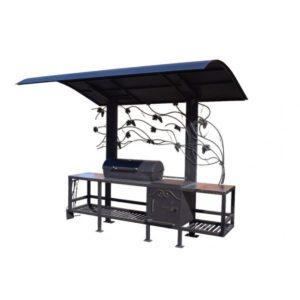 профессиональный мангал с крышей и печкой для казана