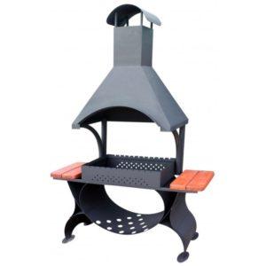 дизайнерский мангал с навесом и дымоходом