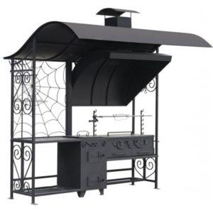 профессиональный мангал с крышей и печкой для казана и чайника