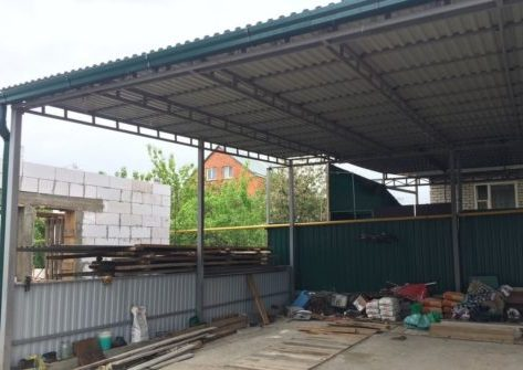 Односкатный навес для уличного склада