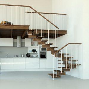 ЛМГО-80. Забежная лестница с деревянными ступенями на металлокаркасе в стиле лофт