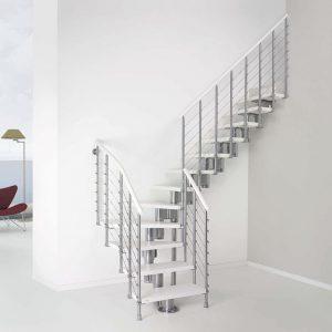 ЛМГО-10. Белая забежная Г-образная лестница из металла в современном стиле