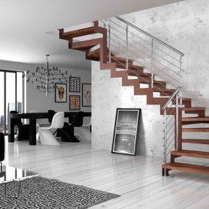 ЛМГО-25. Домашняя лестница с деревянной отделкой на металлокаркасе
