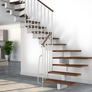 ЛМГО-30. Забежная металлическая лестница с деревянными ступеньками