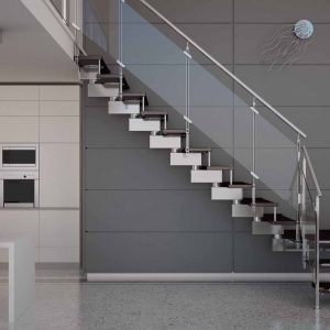 ЛМГО-35. Забежная лестница из металла со стеклянными ограждениями