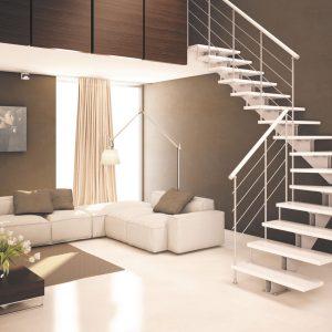 ЛМГО-45. Белая забежная лестница из металла на косоуре