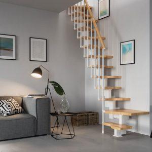 ЛМГО-85. Металло-деревянная лестница в современном стиле для подъёма на 2-й этаж
