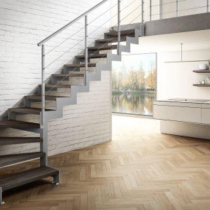 ЛМГО-70. Забежная лестница из металла в частном доме на второй этаж