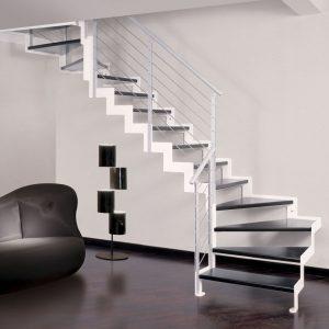 ЛМГО-110. Чёрно-белая забежная лестница из металла в современном стиле