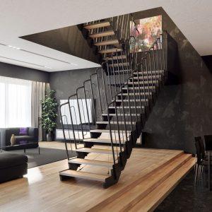 ЛМПО-70. Современная металлическая лестница в стиле лофт с промежуточной площадкой
