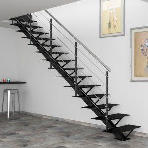ЛМП-20. Прямая металлическая лестница на 2-й этаж на монокосоуре в стиле минимализм