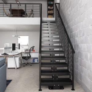 ЛМП-85. Прямая лестница на 2-й этаж на стальном косоуре в стиле модерн