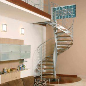 ЛМВ-5. Металлическая винтовая лестница с деревянными ступенями в современном стиле