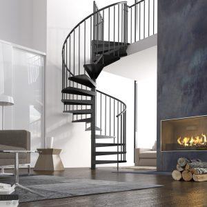 ЛМВ-65. Чёрная винтовая лестница в коттедже на второй этаж