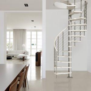 ЛМВ-80. Белая винтовая металлическая лестница