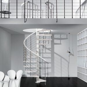 ЛМВ-85. Стильная спиральная лестница в доме на второй этаж