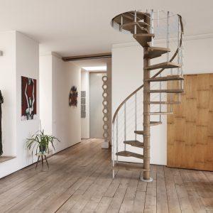 ЛМВ-90. Внутренняя винтовая лестница с деревянными ступенями
