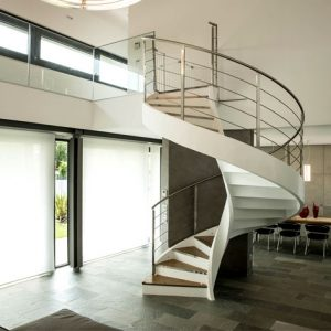 ЛМВ-10. Белая винтовая лекальная лестница из металла в стиле модерн