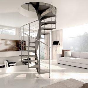 ЛМВ-100. Стильная винтовая лестница на второй этаж
