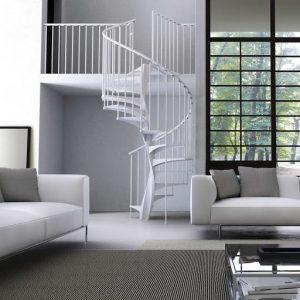 ЛМВ-15. Круговая винтовая металлическая лестница белого цвета